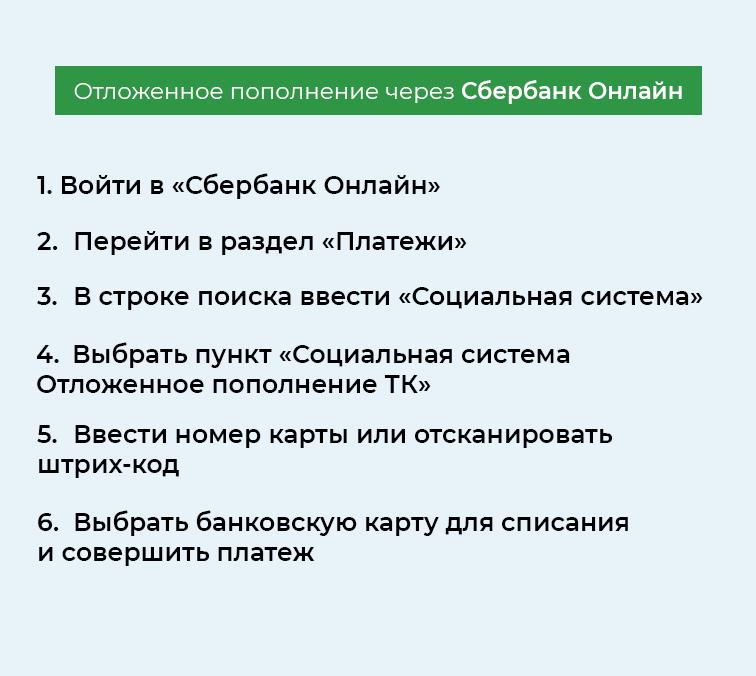 Пополнение транспортной карты через Сбербанк Онлайн